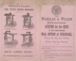 Advert for Wheeler & Wilson, sewing machine manufacturer 7469